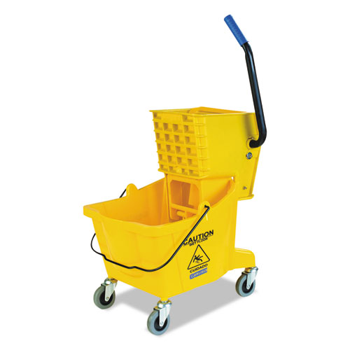 Flo-Pac® Side-Press Bucket/Wringer Combo, Yellow, 26qt, 18 1/2dia x 16 1/2w x 16 1/2h
