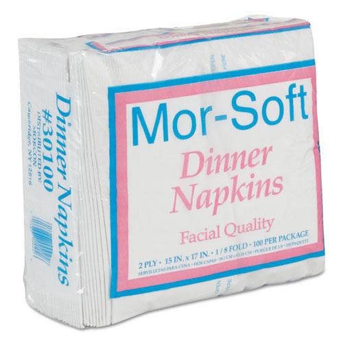 Morcon Paper Dinner Napkins, 2-Ply, 15 x 17, White, 100/Pack, 30 Packs/Carton