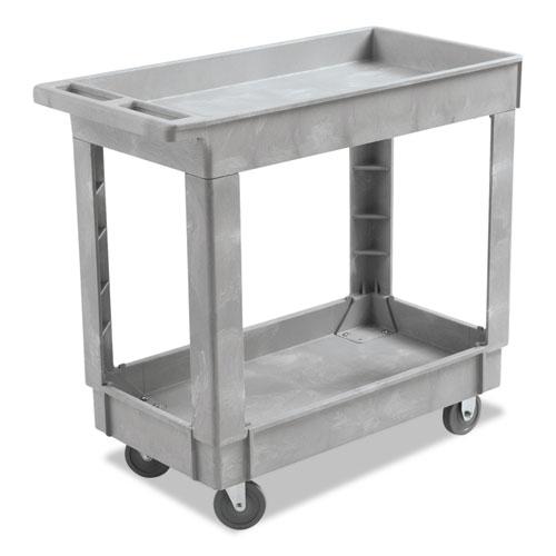 Utility Cart, Two-Shelf, 16w x 34d, Swivel Casters, Resin, Gray