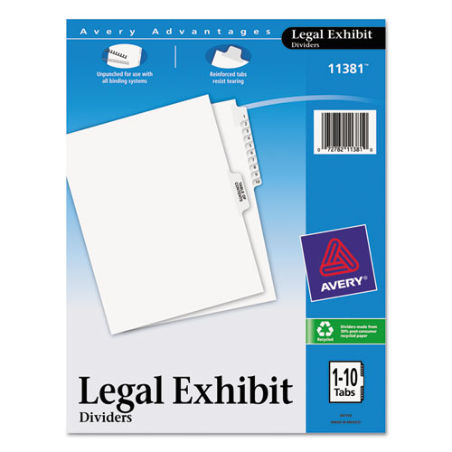 Avery-Style Legal Exhibit Side Tab Divider, Title: 1-10, Letter