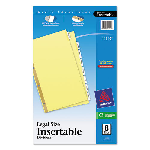 Ave11116 avery insertable standard tab dividers zuma for Avery 8 tab clear label dividers template