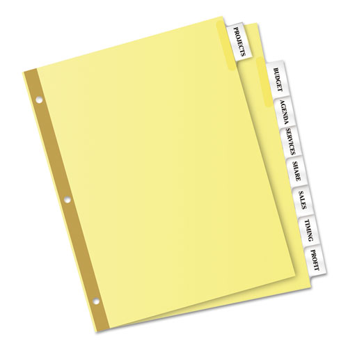 8 large tab insertable dividers template - insertable big tab dividers 8 tab letter