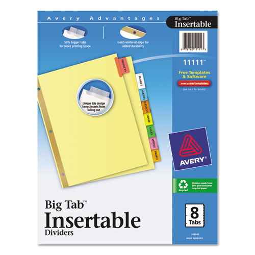 Avery 11111 insertable big tab dividers 8 tab letter for Avery print on tabs template