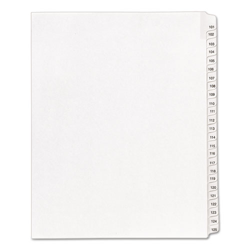 Preprinted Legal Exhibit Side Tab Index Dividers, Allstate Style, 25-Tab, 101 to 125, 11 x 8.5, White, 1 Set | by Plexsupply