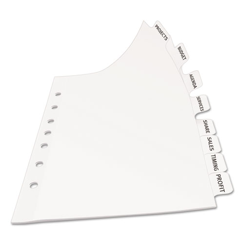 Print apply clear label dividers w white tabs 8 tab 5 for Avery easy apply 5 tab template