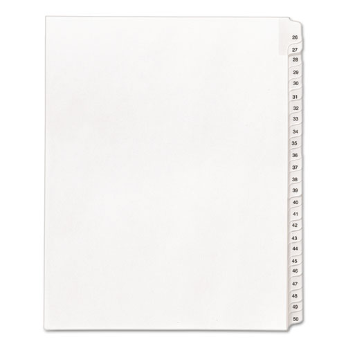 Preprinted Legal Exhibit Side Tab Index Dividers, Allstate Style, 25-Tab, 26 to 50, 11 x 8.5, White, 1 Set | by Plexsupply
