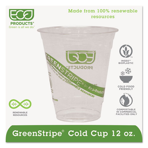 GreenStripe Renewable & Compostable Cold Cups - 12oz., 50/PK, 20 PK/CT EPCC12GS