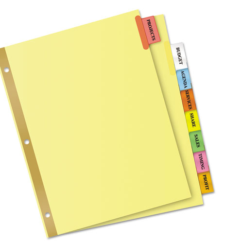 avery index tabs template - insertable big tab dividers 8 tab letter