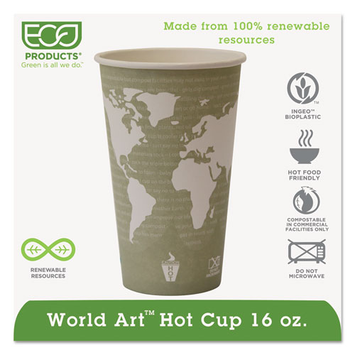 World Art Renewable Compostable Hot Cups, 16 oz., 50/PK, 20 PK/CT EPBHC16WA