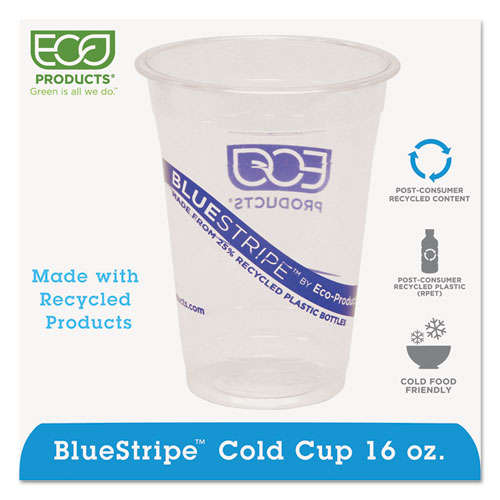 BlueStripe 25% Recycled Content Cold Cups, 16 oz, Clear/Blue, 50/Pk, 20 Pk/Ct EPCR16