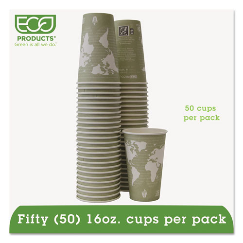 World Art Renewable/Compostable Hot Cups, 16 oz, Moss, 50/Pack | by Plexsupply