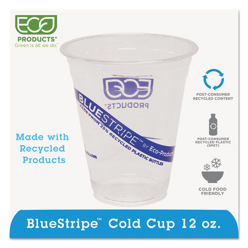 BlueStripe 25% Recycled Content Cold Cups, 12 oz, Clear/Blue, 50/Pk, 20 Pk/Ct EPCR12