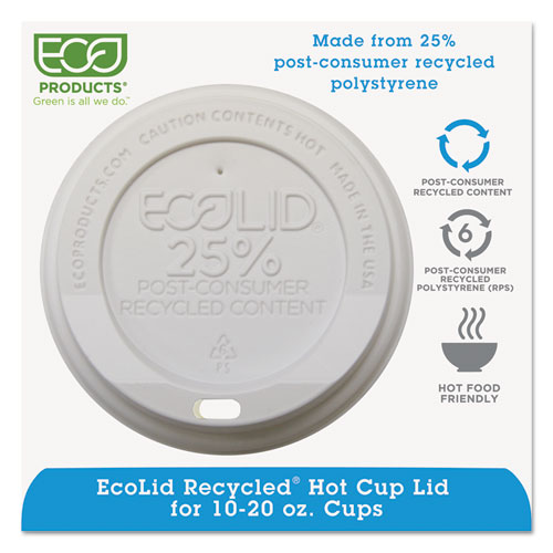 EcoLid 25% Recy Content Hot Cup Lid, White, F/10-20oz, 100/PK, 10 PK/CT EPHL16WR