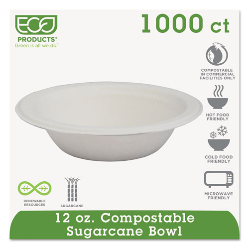 Renewable & Compostable Sugarcane Bowls - 12oz., 50/PK, 20 PK/CT EPBL12