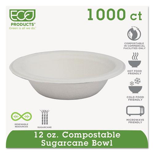 Renewable  Compostable Sugarcane Bowls - 12oz., 50/PK, 20 PK/CT