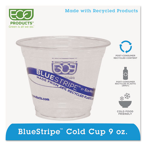 BlueStripe 25% Recycled Content Cold Cups, 9 oz., Clear/Blue, 50/Pk, 20 Pk/Ct EPCR9