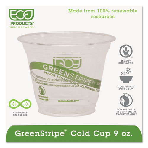 GreenStripe Renewable & Compostable Cold Cups - 9oz., 50/PK, 20 PK/CT EPCC9SGS