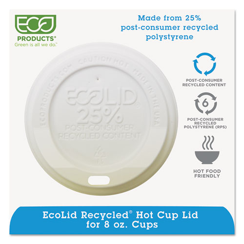 EcoLid 25% Recy Content Hot Cup Lid, White, Fits 8oz Hot Cups, 100/PK, 10 PK/CT EPHL8WR