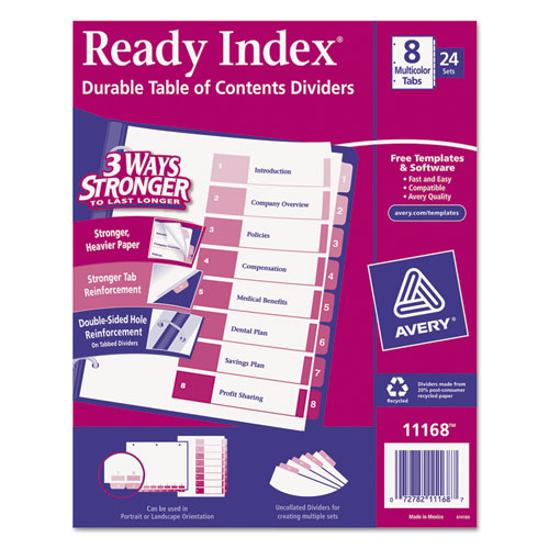 Superwarehouse Ready Index Customizable Table Of Contents Asst