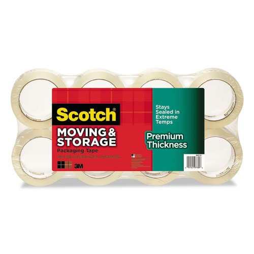 """Moving and Storage Packaging Tape - Premium Thickness, 3"""" Core, 1.88"""" x 60 yds, Clear, 8/Pack 