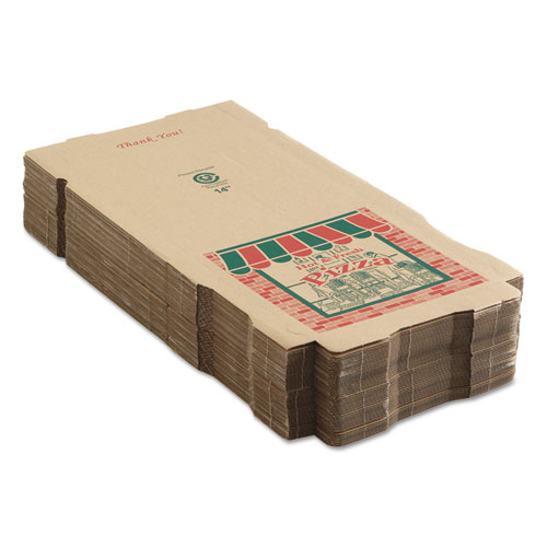 Corrugated Pizza Boxes, 14 x 14 x 1 3/4, Kraft, 50/Carton