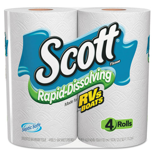 Rapid Dissolving Tissue, 1-Ply, 264 Sheets, 4 Rolls/Pack, 12 Packs/Carton KCC36409
