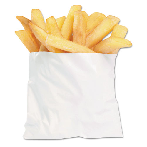 "French Fry Bags, 4.5"" x 3.5"", White, 2,000/Carton"