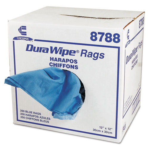 DuraWipe General Purpose Towels, 12 x 12, Blue, 250/Carton | by Plexsupply