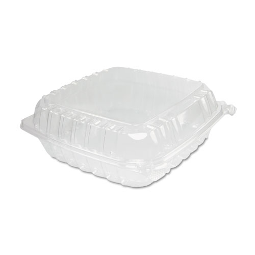 Dart® ClearSeal Plastic Hinged Container, Large, 9x9-1/2x3, Clear, 100/Bag