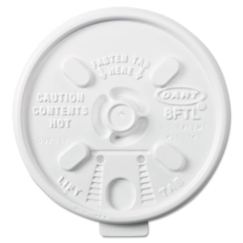 Lift n' Lock Plastic Hot Cup Lids, 6-10oz Cups, White, 1000/Carton 8FTL