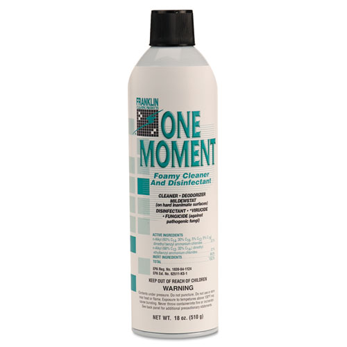 Franklin Cleaning Technology® One Moment Foamy Cleaner and Disinfectant, Citrus, 18oz. Aerosol Can, 12/CT