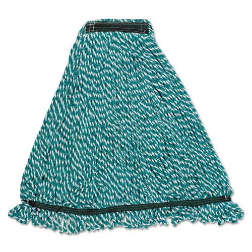 Rubbermaid® Commercial Web Foot String Mop Heads, Microfiber, Green, Medium, 1-in. Green Headband
