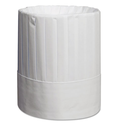 Pleated Chefs Hats, Paper, White, Adjustable, 9 in Tall, 24/Carton