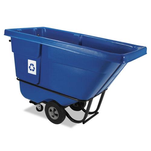 Rotomolded Recycling Tilt Truck, Rectangular, Plastic, 850 lb. Cap., Blue