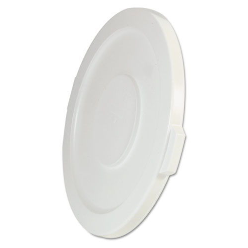 """Rubbermaid® Commercial Round Flat Top Lid, for 32 gal Round BRUTE Containers, 22.25"""" diameter, White"""