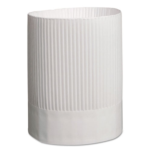 Stirling Fluted Chefs Hats, Paper, White, Adjustable, 9 in. Tall, 12/Carton