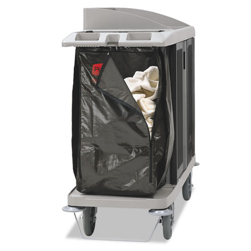 Zippered Vinyl Cleaning Cart Bag, 25 gal, 17 x 33, Brown