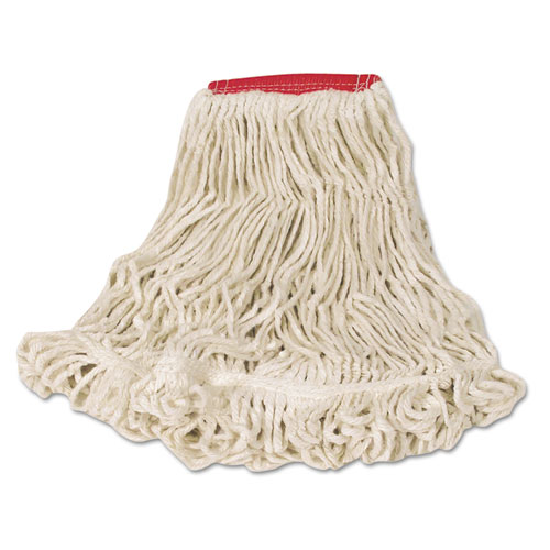 Super Stitch Looped-End Wet Mop Head, Cotton/Synthetic, Large Size, Red/White