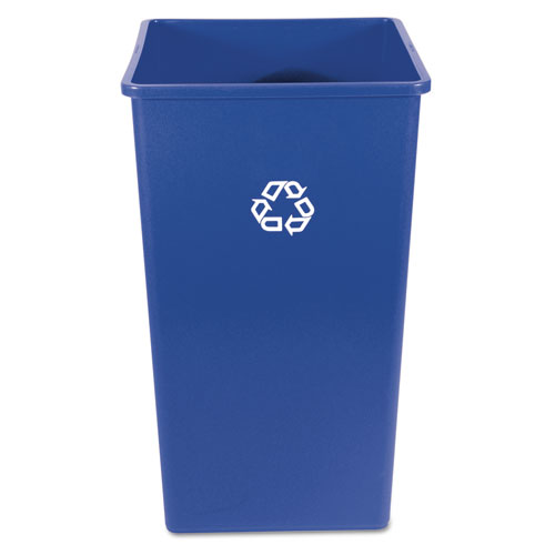 Rubbermaid® Commercial Recycling Container, Square, Plastic, 50 gal, Blue