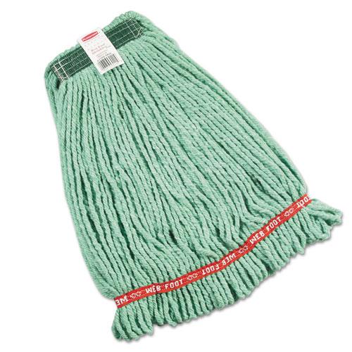 Web Foot Wet Mop Heads, Shrinkless, Cotton/Synthetic, Green, Medium