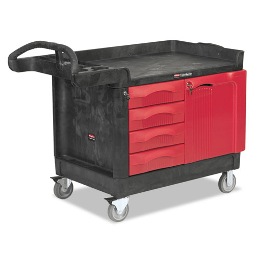 Rubbermaid® Commercial TradeMaster Cart, 750-lb Capacity, One-Shelf, 26.25w x 49d x 38h, Black