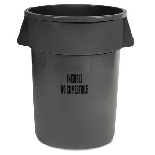 Rubbermaid® Commercial Brute Round Containers, 44 gal, Gray