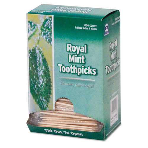 """Mint Cello-Wrapped Wood Toothpicks, 2 1/2"""", Natural, 1000/Box, 15 Boxes/Carton"""
