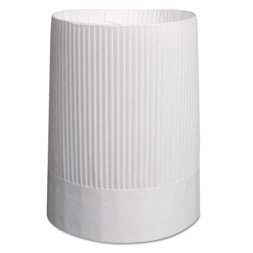 Stirling Fluted Chefs Hats, Paper, White, Adjustable, 10 in Tall, 12/Carton