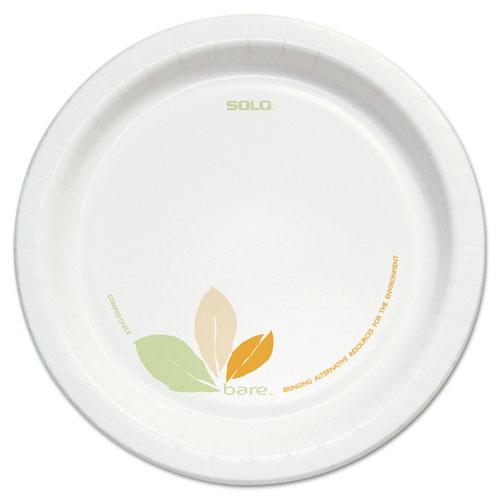 "Dart® Bare Clay-Coated Paper Dinnerware, Plate, 8.5"", Green/Tan, 125/Pack, 2 Packs"