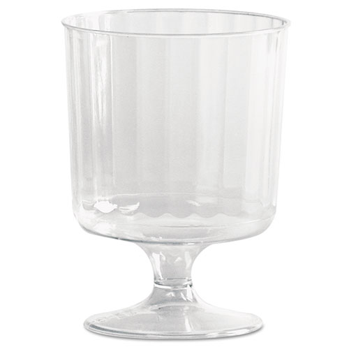 Classic Crystal Plastic Wine Glasses on Pedestals, 5 oz., Clear, Fluted, 10/Pack