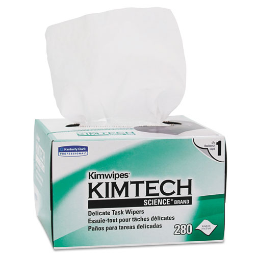 Kimwipes, Delicate Task Wipers, 1-Ply, 4 2/5 x 8 2/5, 280/Box | by Plexsupply