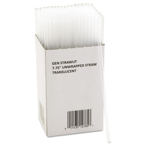 "Unwrapped Jumbo Straws, 7.75"", Plastic, Translucent, 225/Pack, 50 Packs/Carton"