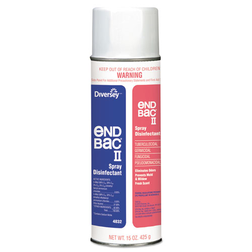 Diversey™ End Bac II Spray Disinfectant, Unscented, 15 oz Aerosol, 12/Carton