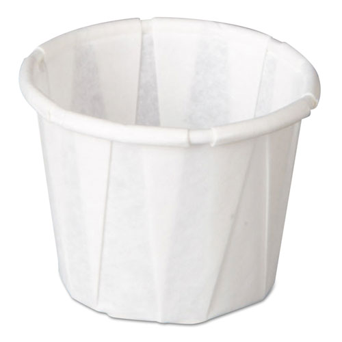 Genpak® Squat Paper Portion Cup, Pleated, .5oz, White, 250/Sleeve, 20 Sleeve/Carton